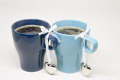 Романтичное утро Горячий кофе для 2 Стоковое Фото