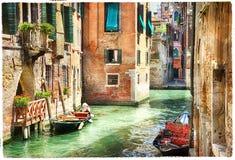 Романтичные венецианские каналы - художественное произведение в стиле картины Стоковые Фото