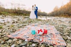 Романтичные молодые bridal пары выпивая вина на речном береге камешка с холмами и потока как предпосылка Стоковая Фотография RF