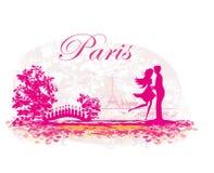 Романтичные пары в Париже - абстрактной карточке Стоковая Фотография RF