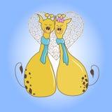 Романтичные пары жирафов на дате иллюстрация штока
