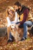 Романтичные пары при собака сидя на дереве, backgr леса осени стоковое фото