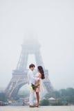 Романтичные пары совместно в Париже Стоковые Изображения RF