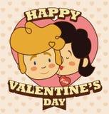 Романтичные пары целуя в сообщении дня валентинки приветствию, иллюстрация вектора Стоковая Фотография RF