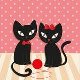 Романтичные пары 2 любящих котов - иллюстрация,  Стоковая Фотография RF