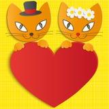 Романтичные пары 2 любящих котов - иллюстрация Стоковое Изображение