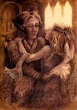 Романтичные старые пары танцев времени, однокрасочный детальный чертеж Стоковое фото RF