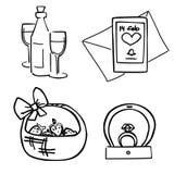 Романтичные стикеры установили для datin дня Валентайн бесплатная иллюстрация