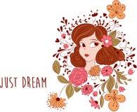 Романтичные цветки и девушка мультфильма Как раз сообщение мечты иллюстрация вектора