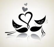 Романтичные черные коты Стоковое Изображение