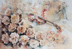 Романтичный вальс и вино в стекле стоковое изображение rf