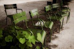 Романтичный взгляд зеленых стульев металла в парке с зеленым растением и никто, концепцией зеленого цвета стоковое изображение rf