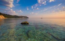 Романтичный восход солнца на море Portonovo Стоковые Изображения RF