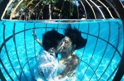 Романтичный жених и невеста подводный в клетке птицы Стоковое Фото