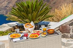 Романтичный завтрак для 2 Стоковое Фото