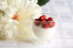 Романтичный завтрак с югуртом и одичалой клубникой Стоковые Изображения