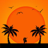 романтичный заход солнца иллюстрация вектора
