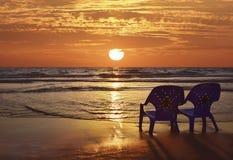 Романтичный заход солнца на Средиземном море Стоковая Фотография RF