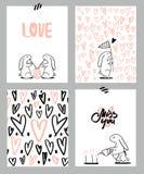 Романтичный комплект карточек 4 карточки дня ` s валентинки с милым кроликом и сердцами также вектор иллюстрации притяжки corel Стоковое Изображение