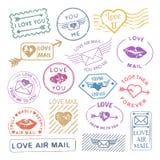 Романтичный комплект штемпеля почты письма иллюстрация штока