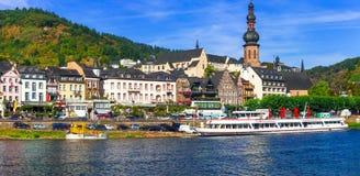 Романтичный круиз Рейна - средневековый городок Cochem Германия Стоковые Изображения RF