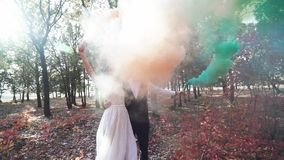 Романтичный момент свадьбы, любя новая пара на открытом воздухе акции видеоматериалы