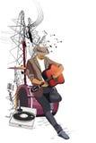 Романтичный музыкант с гитарой в городе бесплатная иллюстрация
