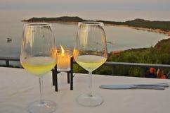 Романтичный обедающий в Сардинии Стоковые Изображения