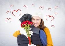 Романтичный один другого обнимать пар Стоковое Изображение RF
