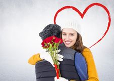Романтичный один другого обнимать пар Стоковые Изображения RF