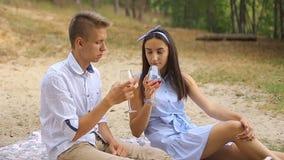 Романтичный пикник молодой пары в влюбленности в лесе около озера сток-видео