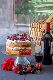 Романтичный пикник с домом сделал торт еды ангела Стоковые Фото