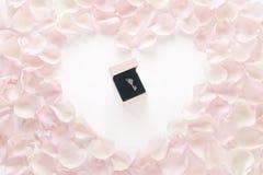Романтичный подарок окруженный розовым сердцем лепестка розы Стоковые Фотографии RF