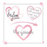 Романтичный помечать буквами вручную на предпосылке сердец акварели Стоковое Фото
