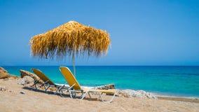 Романтичный пляж на острове Крита, Греции Стоковые Изображения