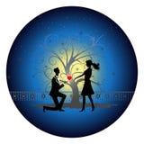 Романтичный силуэт пар Стоковая Фотография RF