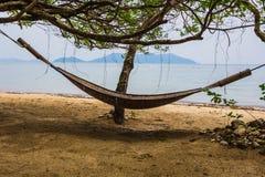 Романтичный уютный гамак в тени ладони на тропическом Стоковое фото RF