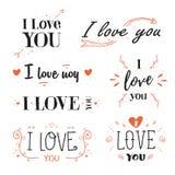 Романтичный, цитата дня валентинок, формулирует я тебя люблю Стоковое Изображение RF