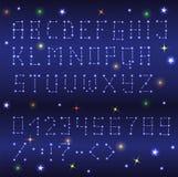 Романтичный шрифт с звездами Собрание характеров, номеров и Стоковое фото RF