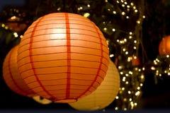 Романтичный японский бумажный фонарик Стоковые Изображения
