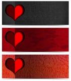 3 романтичных знамени Стоковые Фотографии RF
