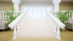 Роскошная большая белая мраморная лестница театра Hall дворца перевод 3d Стоковые Фото