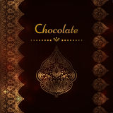 Роскошная винтажная карточка вектора Приглашение с красивыми золотыми орнаментами, рамка границы шнурка Шаблон шоколада Стоковое Изображение RF