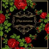 Роскошная винтажная карточка красных роз с каллиграфией золота также вектор иллюстрации притяжки corel иллюстрация штока