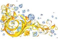 Роскошная граница с кристаллами диаманта и золото завивают Предпосылка знамени ювелирных изделий иллюстрация вектора