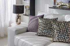 Роскошная живущая комната с черной лампой и белой софой Стоковые Изображения RF