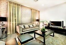 Роскошная живущая комната с черными стендами и таблицей Стоковая Фотография RF