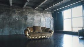 Роскошная золотая софа на предпосылке просторной квартиры сток-видео
