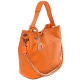 Роскошная кожаная женская сумка изолированная на белизне Стоковая Фотография RF