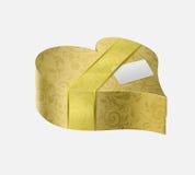 Роскошная коробка подарка золота в форме сердца Стоковые Изображения